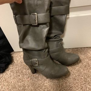 Gray heeled boots (low to mid calf)